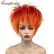 Сильный красота короткие синтетические парики оранжевый красный парик для мужчин женщин пушистые прямые Косплей вечерние парики ТЕПЛО ОК