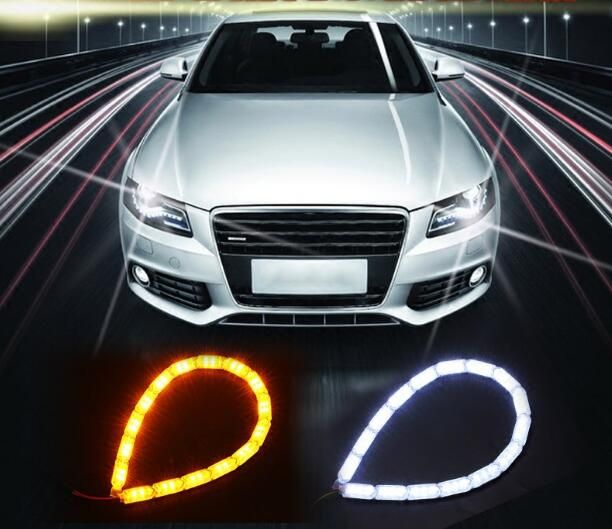2pcs Car Flexible White/Amber Switchback LED Knight Rider Strip Light for  Headlight Sequential Flasher Dual Color DRL Turn Sign