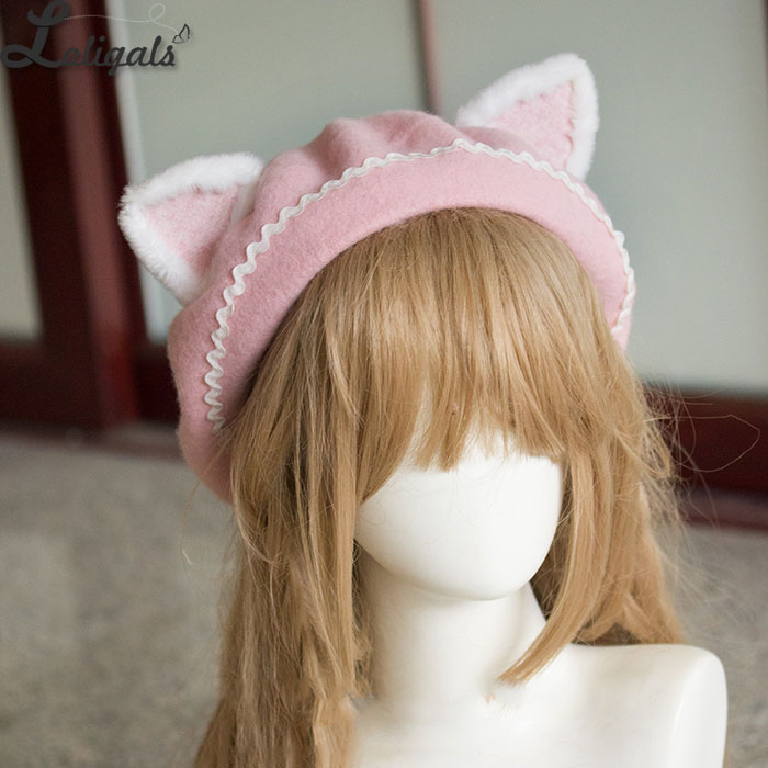 Image 2 - Lovely Womens Cat Ear Berets Cute Mori Girl Wool Berets for Winter Pink WhiteWomens Berets   -