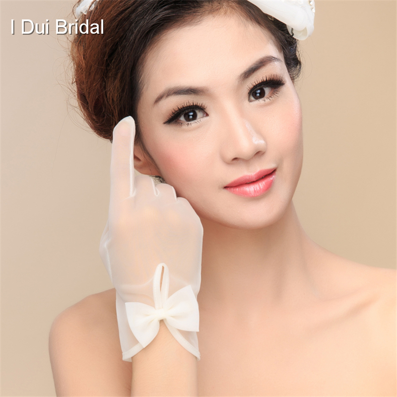 Short Simple Wedding Bridal Gloves with Bow White Ivory Cheap High Quality