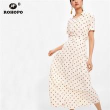 ROHOPO Pink Polka Dot Pleated Dress Belted Short Sleeve Summer Cute Half calf Dress Bottons Top Preppy Girl Multiways Dress недорого