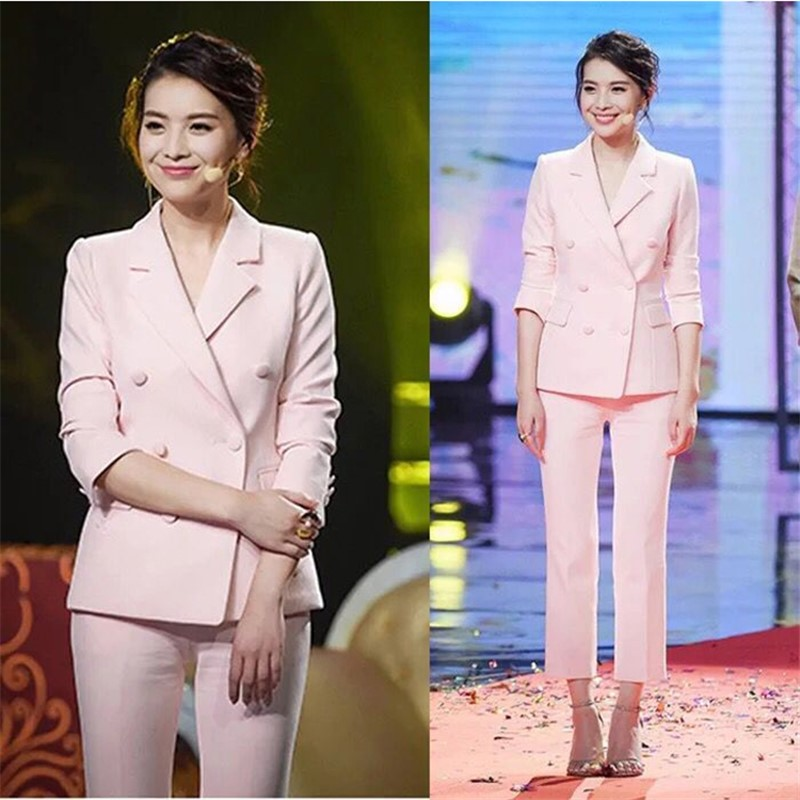 2018 Spring New Show Style Fashion Pink Elegant Slim Fit Polyester Full Sleeve Double Breasted Notched