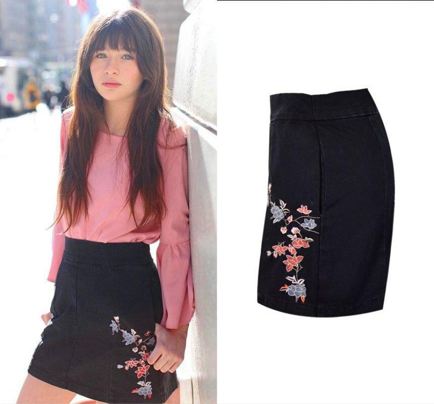 7cdb1288 Embroidered High Waist Jeans Skirts Women 2019 Spring Summer Fashion Black  Mini Skirt Saia Mujer Japanese Streetwear Denim Skirt-in Skirts from  Women's ...