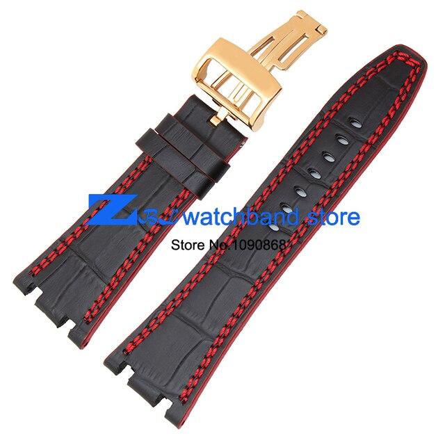 Кожаный браслет Спортивные часы Черный ремешок с красной сшитые Смотреть band 28 мм Мужчины высокого качества Часы аксессуары