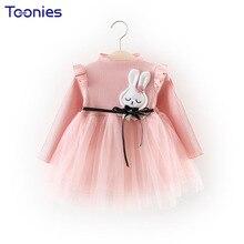 Фотография Toddler Girls Dress Cute Princess Girls Dresses Winter Thicker Cartoon Baby Costumes Mesh Patchwork Infant Vestiod Solid Clothes