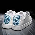 Обувь женщина zapatos mujer Кожаные ботинки 2016 женщин способа плоские туфли бабочка Вышивка scarpe донна creepers обувь дамы