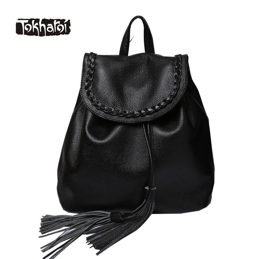 Tokharoi Brand Women Genuine Leather Backpack Ribbons Tassel Appliques Shoulder Bags Fashion Solid Black Bag New Original Design