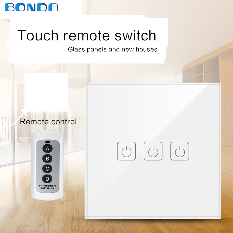 EU/UK Standard Eruiklink 1/2/3 Gang Wireless Remote Control Light Switches, Smart Home RF433 Remote Control Wall Touch Switch цена 2017