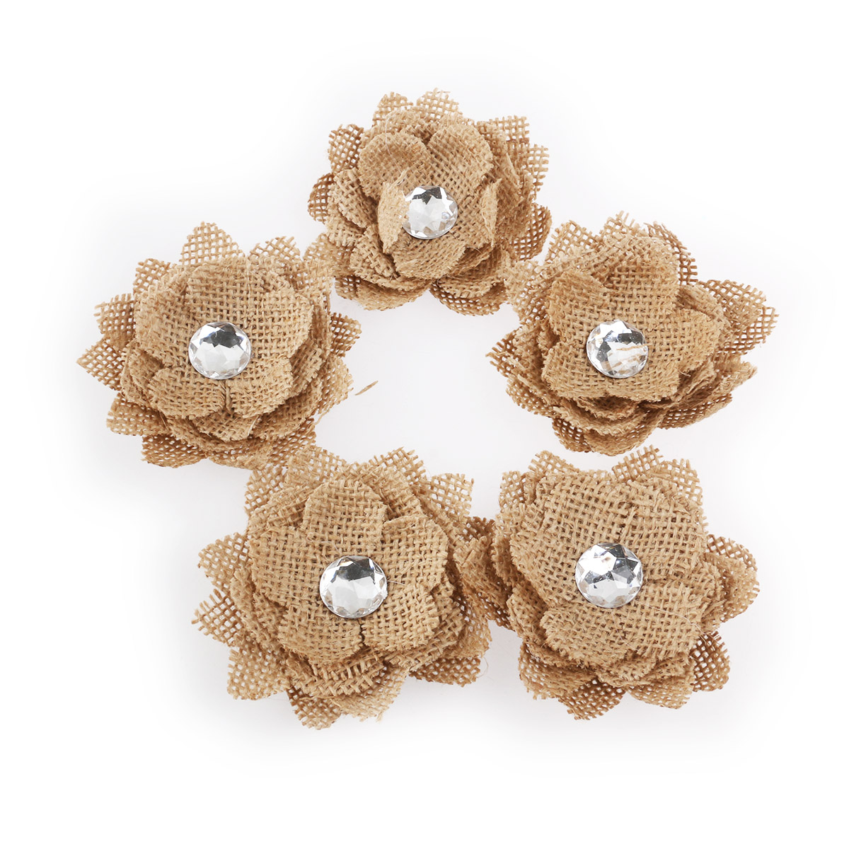 2017new 5pcs Crystal Hessian Burlap Rose Flowers for Christmas Wedding Decoration (Brown) New Year Ornaments
