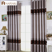 NAPEARL Rustic Decorative Bedroom Window Curtain Screening Drapes Darkening Panel Manufactured Yarn Voile Striped Textured Weave