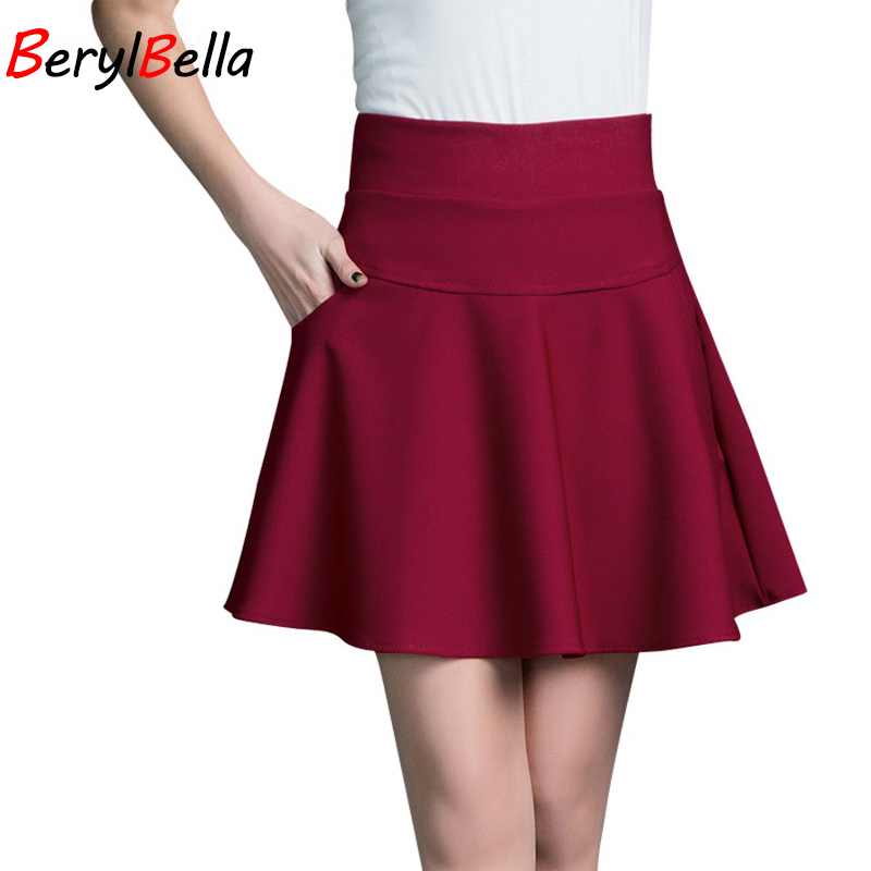 LilyChow Korean 2016 Summer Womens Skirts Pleated Girls Skirt Female Mini Tutu With Pocket Solid Black Red