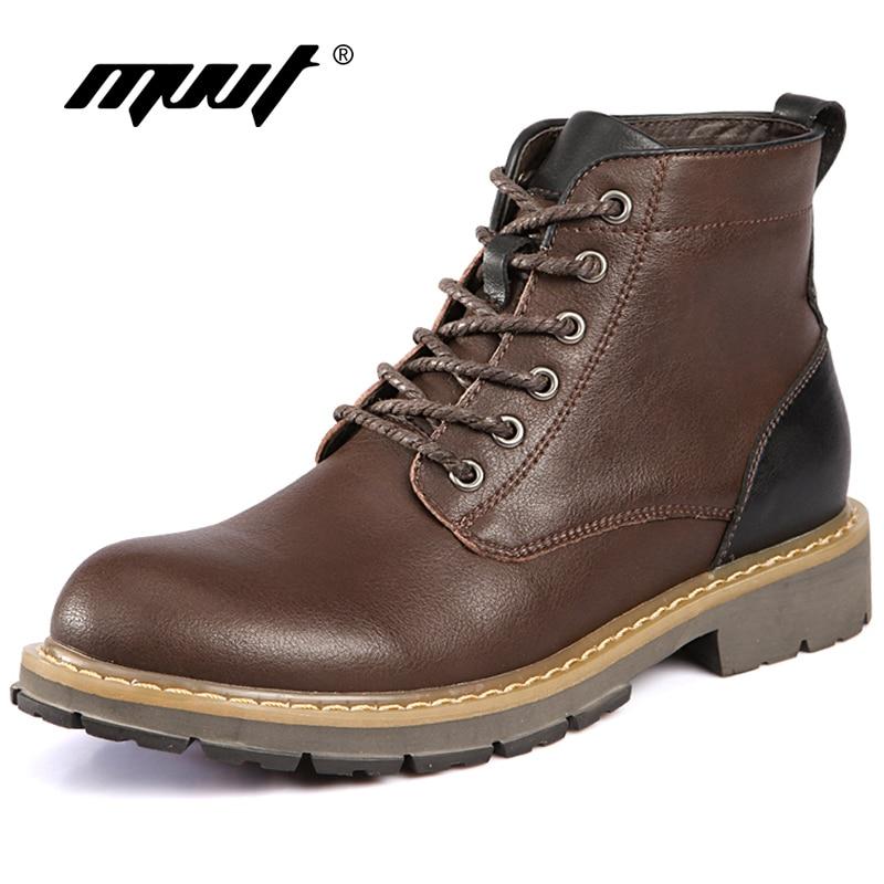 Mvvt Western Style Winter Men Boots Genuine Leather Martin Boots Rubber Sole Non Slip Fashion