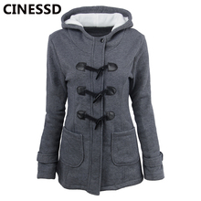 CINESSD Women Hooded Coat Parkas Horn Button Wool Thicken Trench Jacket Gray Autumn Winter Plus Size Cashmere Pocket Casual Coat plus size hooded horn button coat