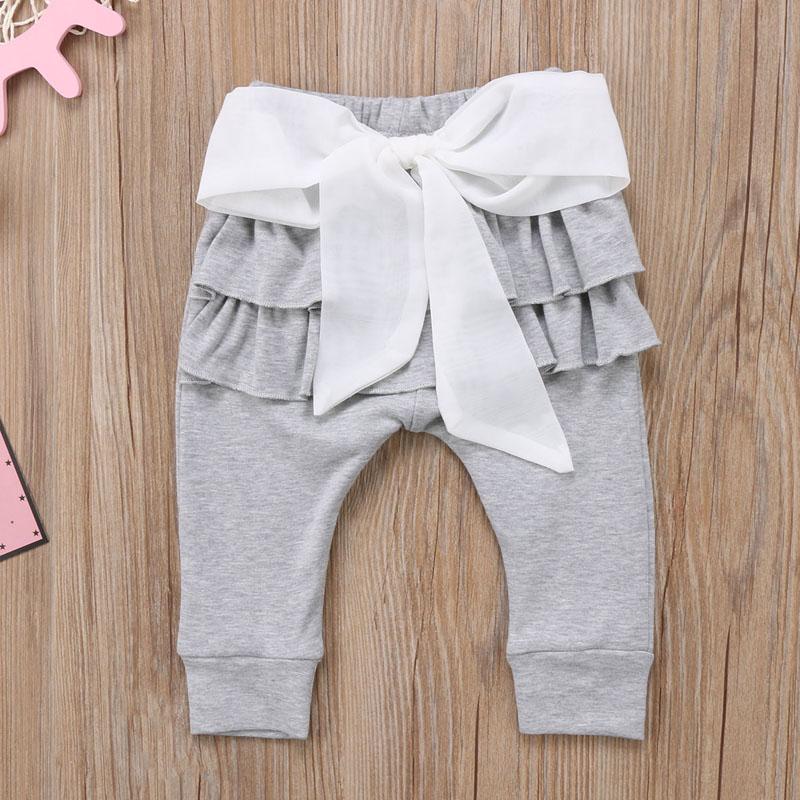 Infant Baby Girl Layered Ruffle Pants Toddler Kid Long Pants Bowknot Casual Bottoms Clothing 10