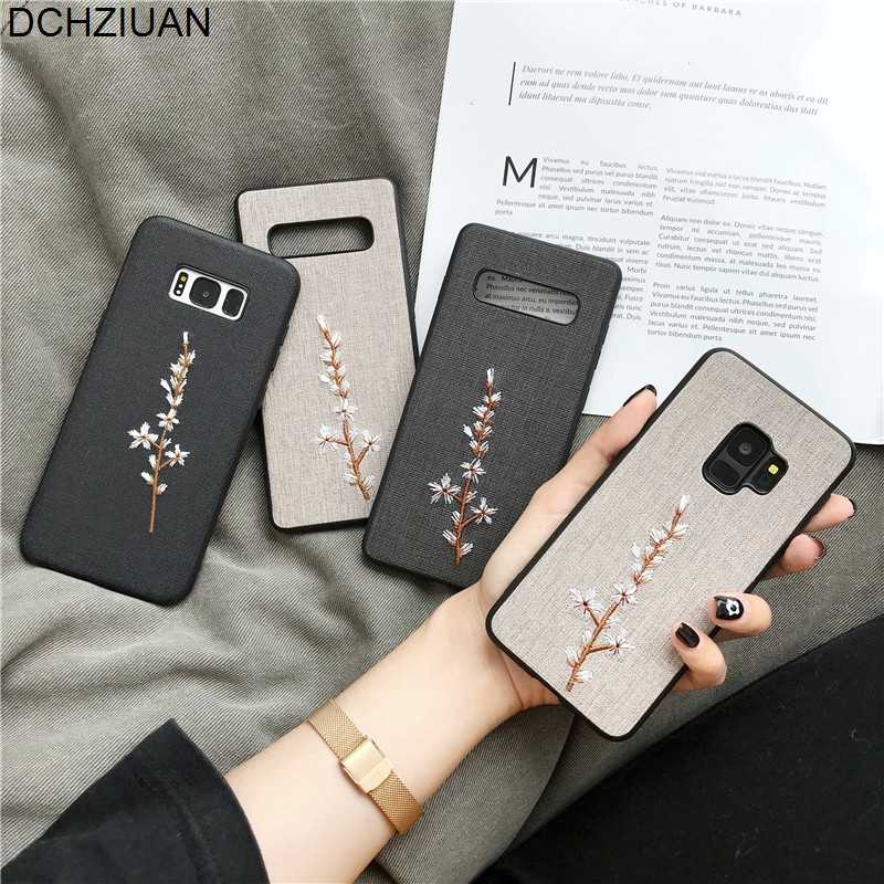 DCHZIUAN Embroidery Flower Phone Case For Samsung Galaxy S10 S10 Plus S10e S9 S9plus S8 Plus Note 9 Note 8 Case Cover 3D Coque