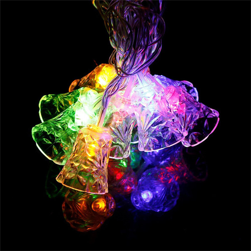 Romantic Decorative String Light Jingle bell 4M 20 lamp Multicolor Led light bulb living room/Indoor/Bedroom/Christmas/party cka1012 christmas bell snowflake bow pattern bedroom decorative sticker red golden white