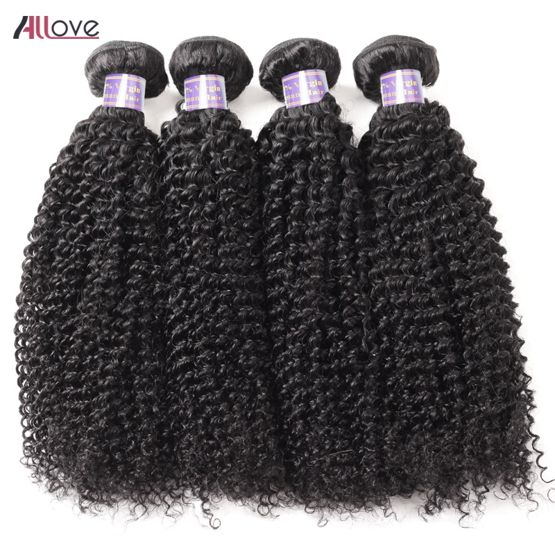 Allove Mongolian Kinky Curly Hair Bundles 100 Human Hair Weave 4 Bundles Deal 8-28 Inch Natural Black Color Remy Hair Extensions