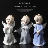 Eleganckie białe ceramiczne porcelany anioł figurki posąg rzeźba anioła nowoczesne craft ornament dekoracji christmas gift