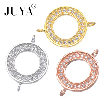 Supplies For Jewelry Copper Zircon Rhinestone Simple Round Circle Connectors DIY Bracelets Necklaces Earrings Making