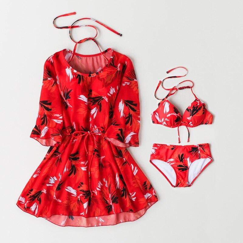 Bikini maillot de bain 2019 nouveau Sexy rouge imprimé Floral maillot de bain Halter Push Up maillot de bain jupe femmes maillot de bain Bikini Bandage robe