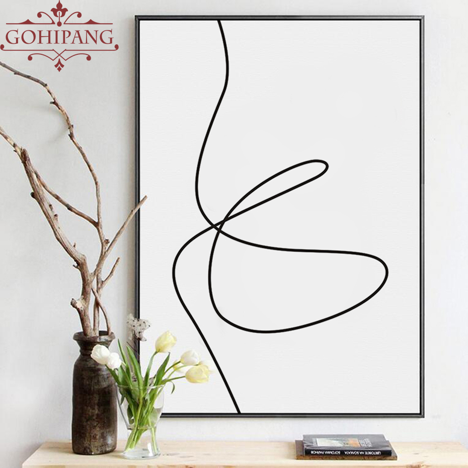 Gohipang Nordic Black White Painting One Line Drawing Sketches Minimalist Canvas Art Printed Poster Modern Home Decor No Framed line art