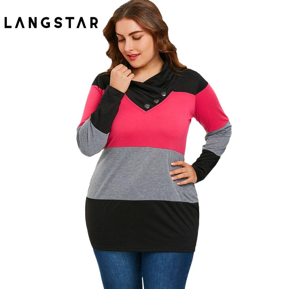 046022bacc Nueva camiseta de talla grande para mujer 5XL de manga larga Camiseta  cuello 2018 primavera Casual botones Panel rayas camisetas pulóver