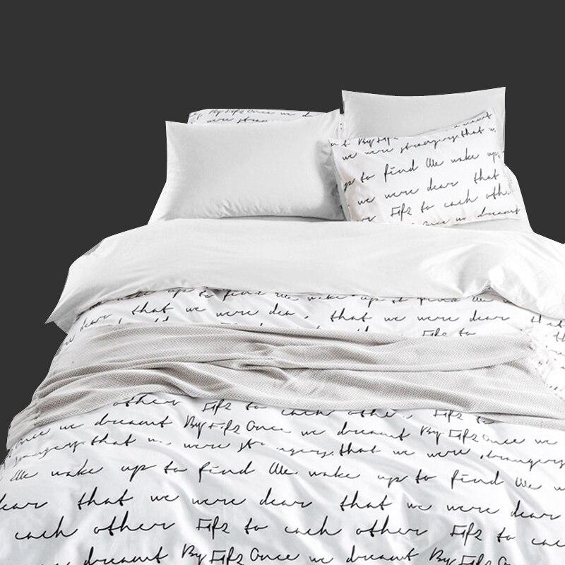 Bedding-Sets Soft-Sheet-Set Bed-Linen Hotel Custom-King-Size Duvet-Cover-Set Letter Queen