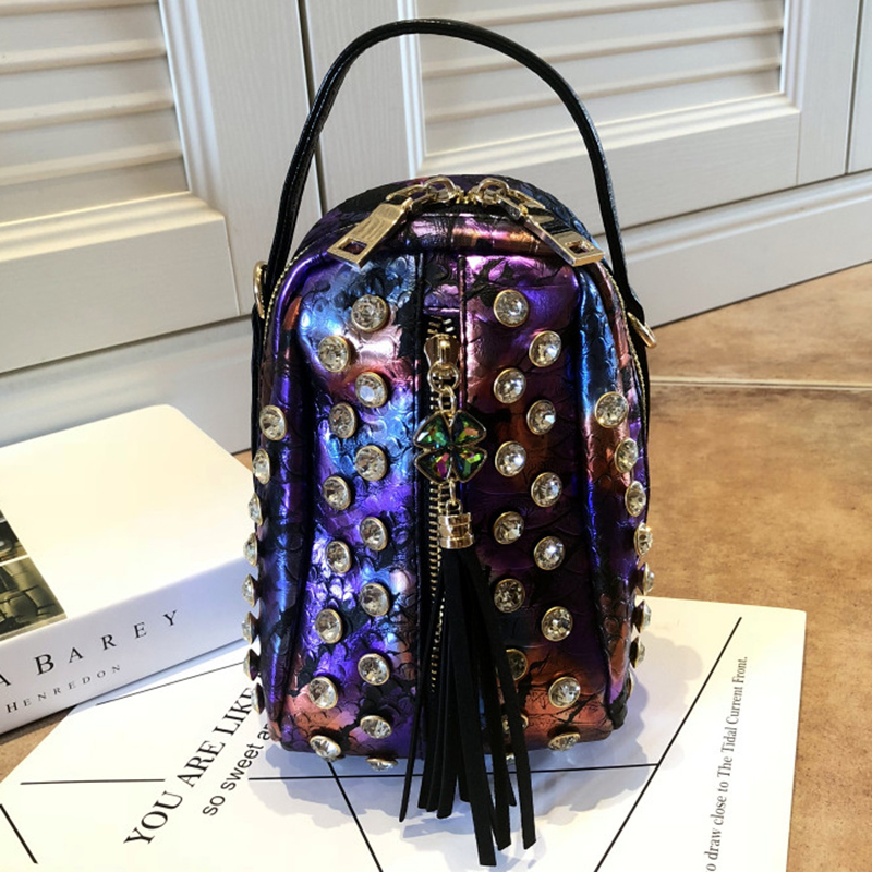 Women Crystal Totes Punk Messenger Bags Tassel Luxury Purple Black Leather Evening Bags Ladies Small Crossbody Shoulder Bags 1