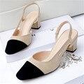 O envio gratuito de verão das mulheres da moda boca rasa bloco de cor todo o jogo salto grosso sandálias slingback