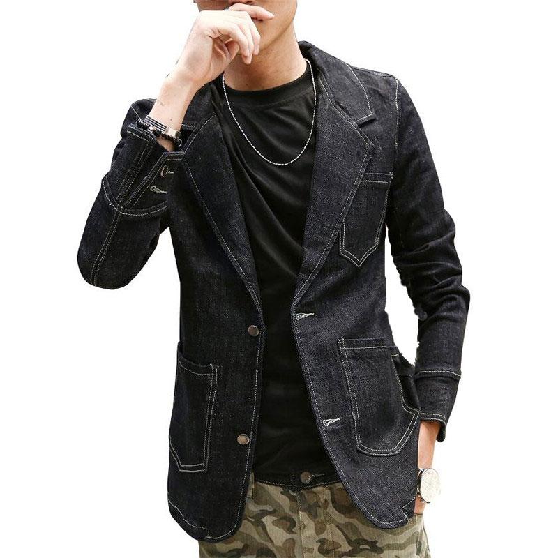 Plus Size Mens Denim Blazer Black Solid Cotton Men'S Blazer Suit Jacket Jeans Men Blazers And Jackets 2017 Oversize New