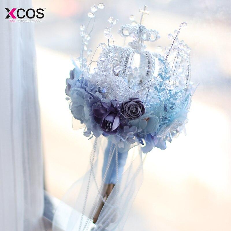 Великолепная Корона Bling Букеты Свадебные блеск брошь букет свадебные аксессуары Искусственные цветы голубой сиреневый Свадебные букеты