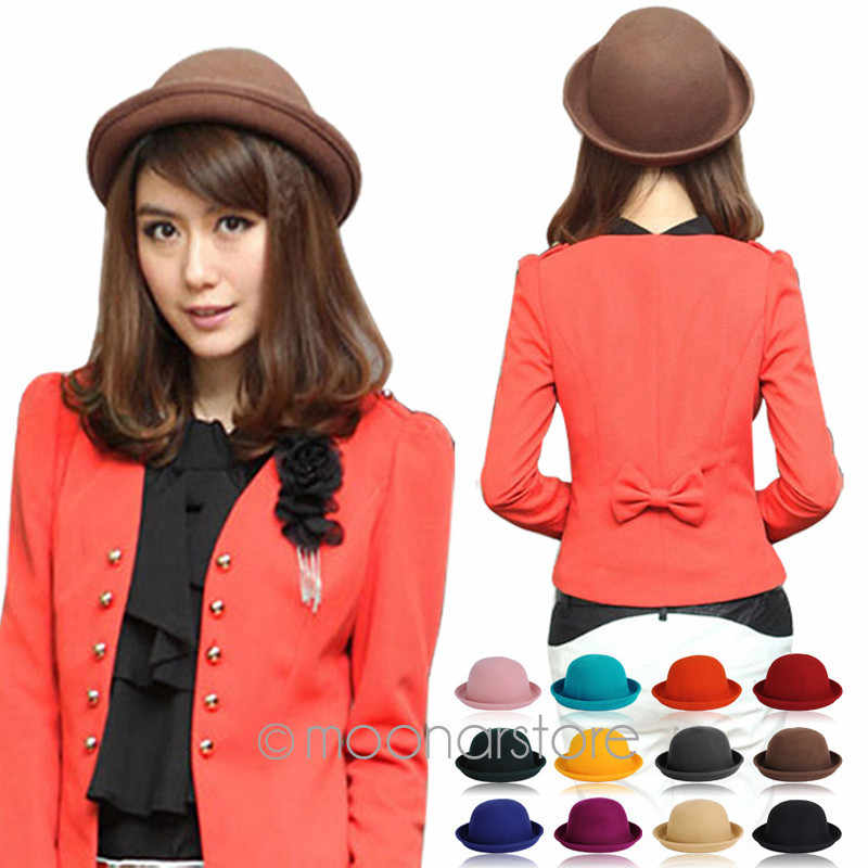 Populaire Lady \'s solid Vilt Bowler & Derby Wollen Fedora Hoed Vrouw Ronde Cap WHM316