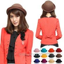 Popular Lady\'s solid Felt Bowler & Derby Woolen Fedora Hat Woman Round Cap WHM3