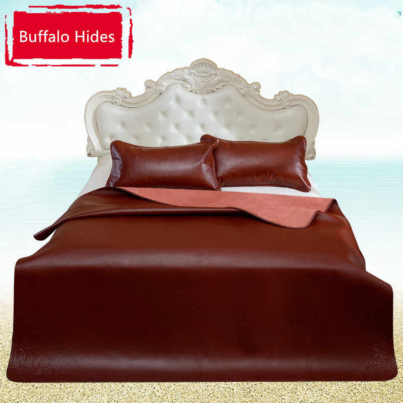 Full Grain Leather Buffalo Hide Animal Fur Bed Cover 200 X 220 Cm Bedspreads Coverlets For
