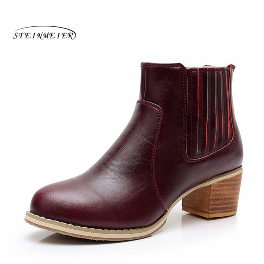 Hakiki inek deri kadın ayak bileği chelsea çizmeler rahat kaliteli yumuşak ayakkabı marka tasarımcısı el yapımı 2019 kış kırmızı kürk