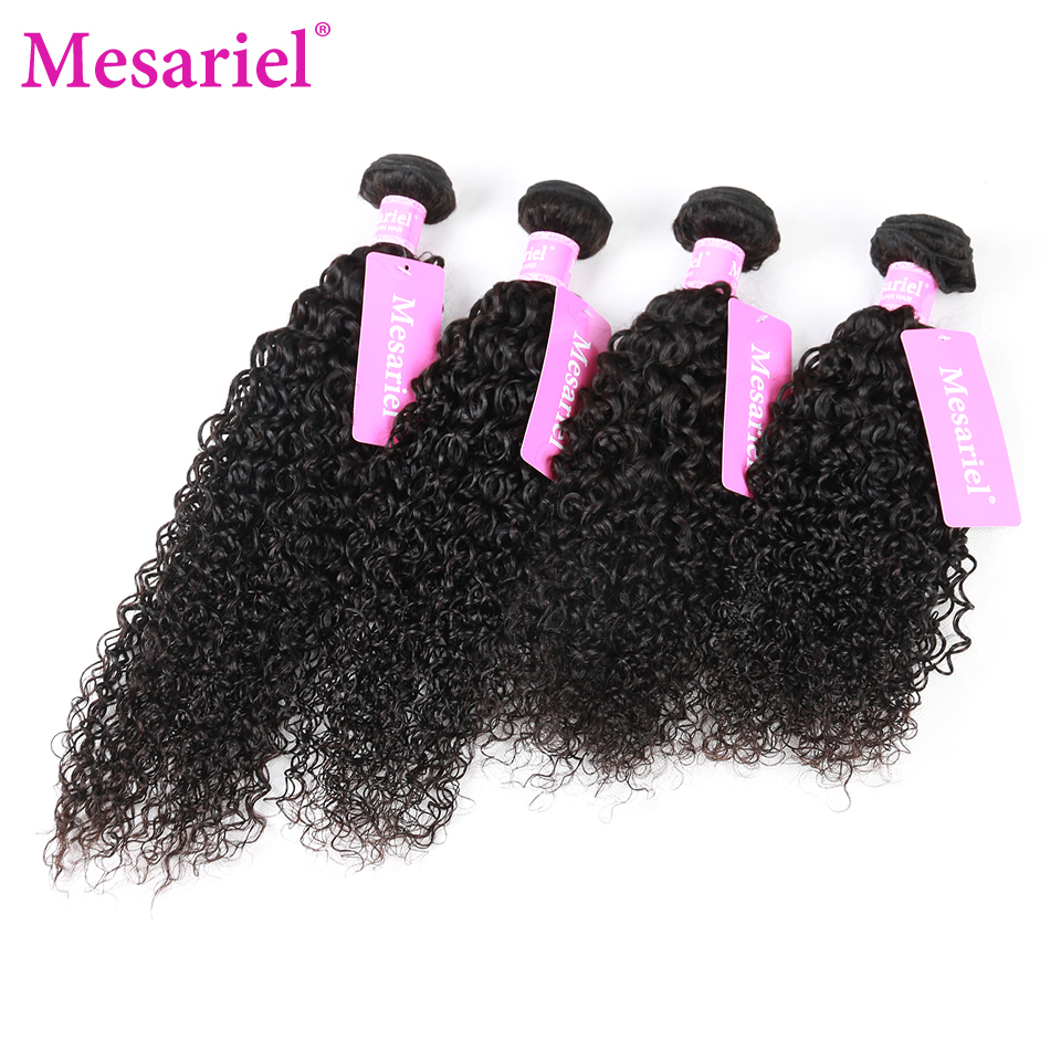 Mesariel 4 Bundles Brazilian Kinky Curly Human Hair Weave Bundles Natural Black Color Non-Remy Hair Extensions