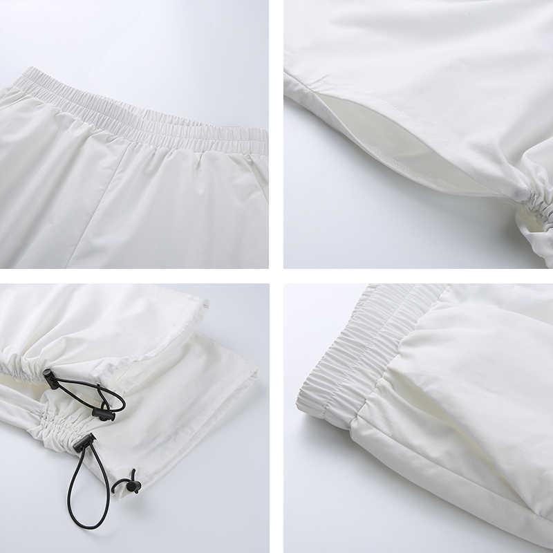 Rapwriter повседневные эластичные брюки с высокой талией, с боковой шнуровкой, с вырезами, женские штаны 2019, уличная одежда для бега, женские свободные штаны белого цвета