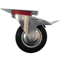 4x Swivel Caster Wheels Rubber Base With Top Plate Bearing Heavy Duty