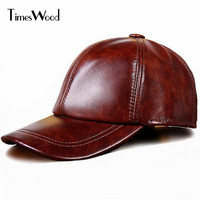TIMESWOOD Brand Genuine Cow Leather Baseball Caps Cowhide Leather Hat Plain Color Mens Fashion 2017 New Arrival Bones Masculino