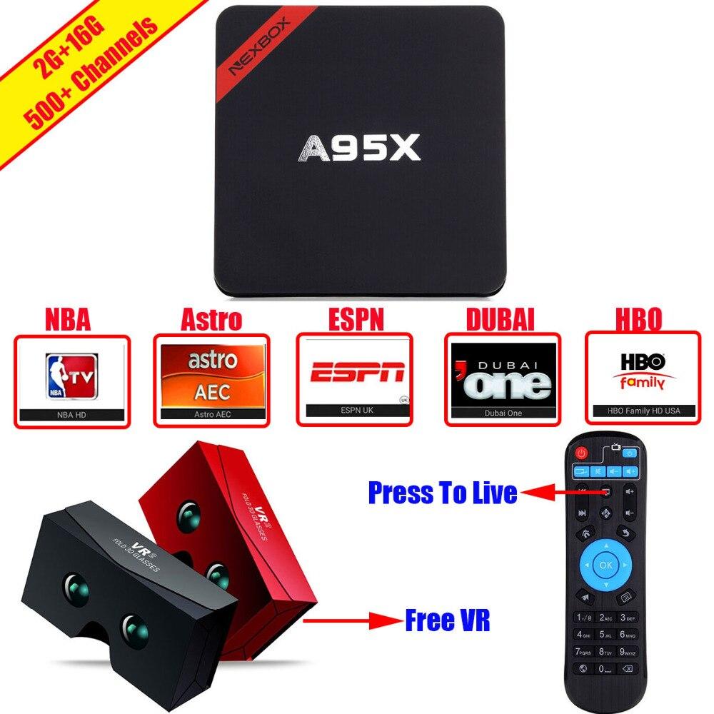 US $518 25 |A95X Amlogic S905X Android 6 0 Smart TV Stick Box Kodi 16 1  Arabic IPTV Player 2 4G/5G Dual WIFI Media Player 2G/16G Set Top Box-in TV