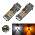 2PCS 3157 P27/5W T25 5730 20SMD Amber/White Switchback LED Bulbs SMD t25 DRL Turn Signal Tail Brake Stop Light 12V Dual Color