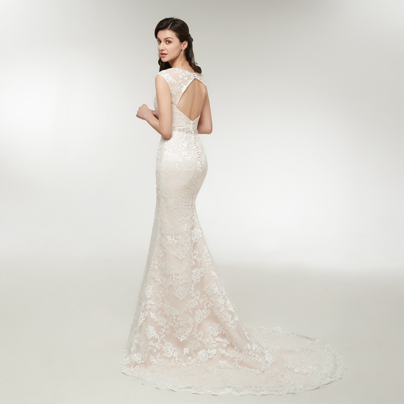 Sleeveless Court Train Lace Mermaid Appliques Wedding Dress