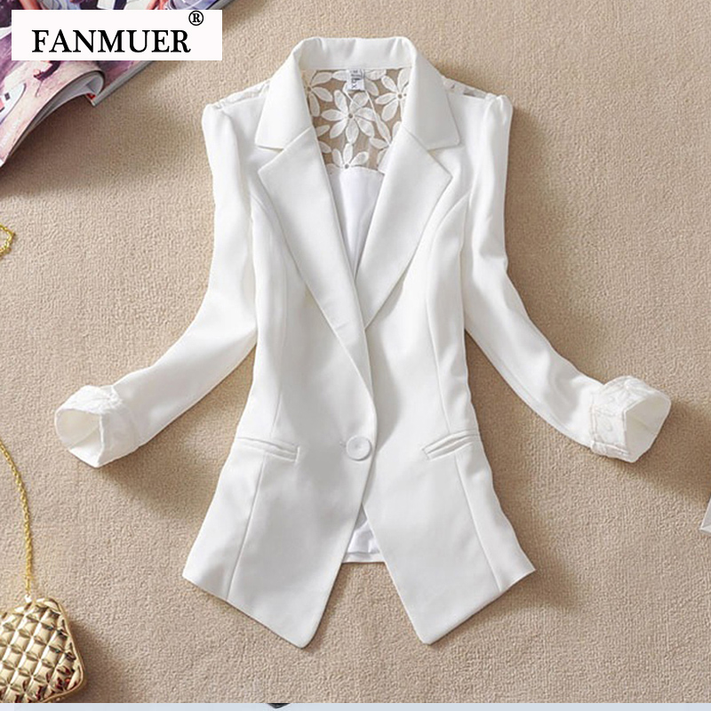 Fanmuer 2019 Female suit women blazer elegant three quarter sleeve blazers woman outerwear women clothes women summer jacket