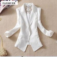 Fanmuer 2020 Female Suit Blazer Elegant Three Quarter Sleeve Blazers Woman Outerwear Women Clothes Summer Jacket
