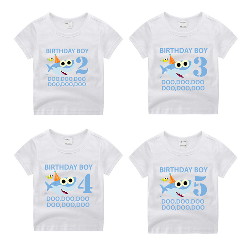 lLittle Boy Baby Shark 1-9 Number Print Cartoon Funny T Shirt Kids Happy Birthday Present T-shirt Children Gift