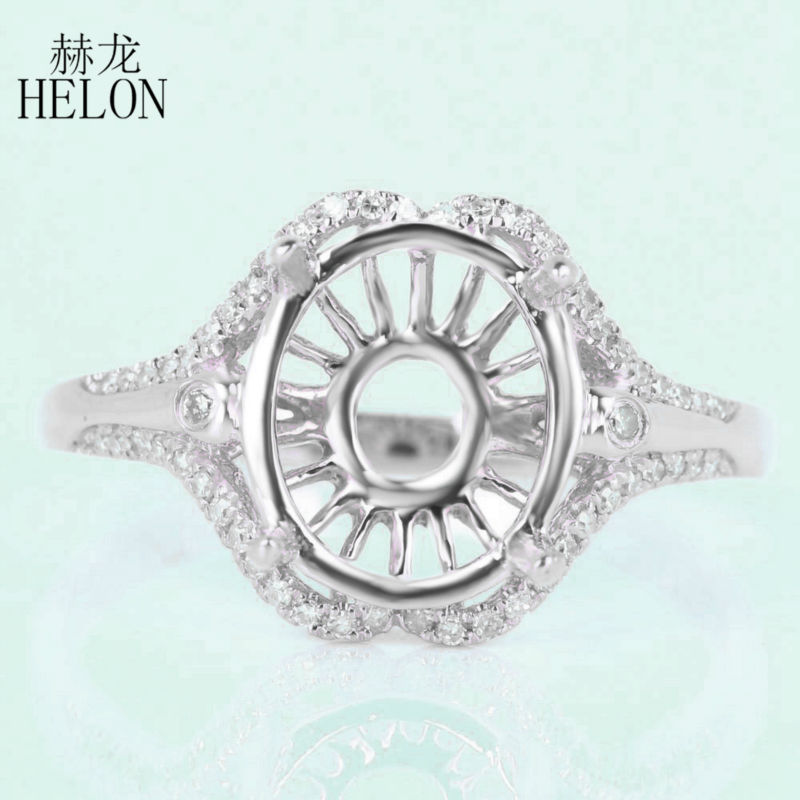 HELON 8x10mm OVAL Semi Mount Engagement Wedding Ring Solid 10k White Gold 0.2ct Diamonds Exquisite Fashion Womens Jewelry RingHELON 8x10mm OVAL Semi Mount Engagement Wedding Ring Solid 10k White Gold 0.2ct Diamonds Exquisite Fashion Womens Jewelry Ring