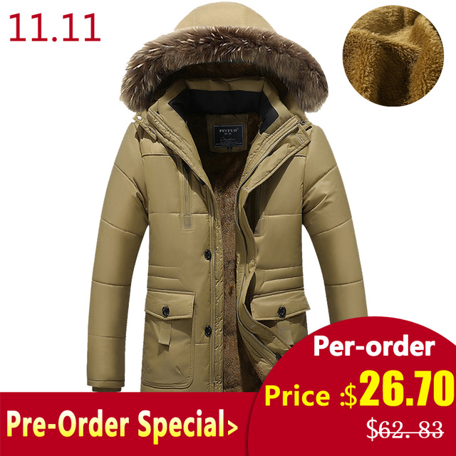 PEILOW Plus size M~7XL 8XL winter jacket Middle age Men Plus thick warm coat jacket men's casual removeable hooded coat jacket