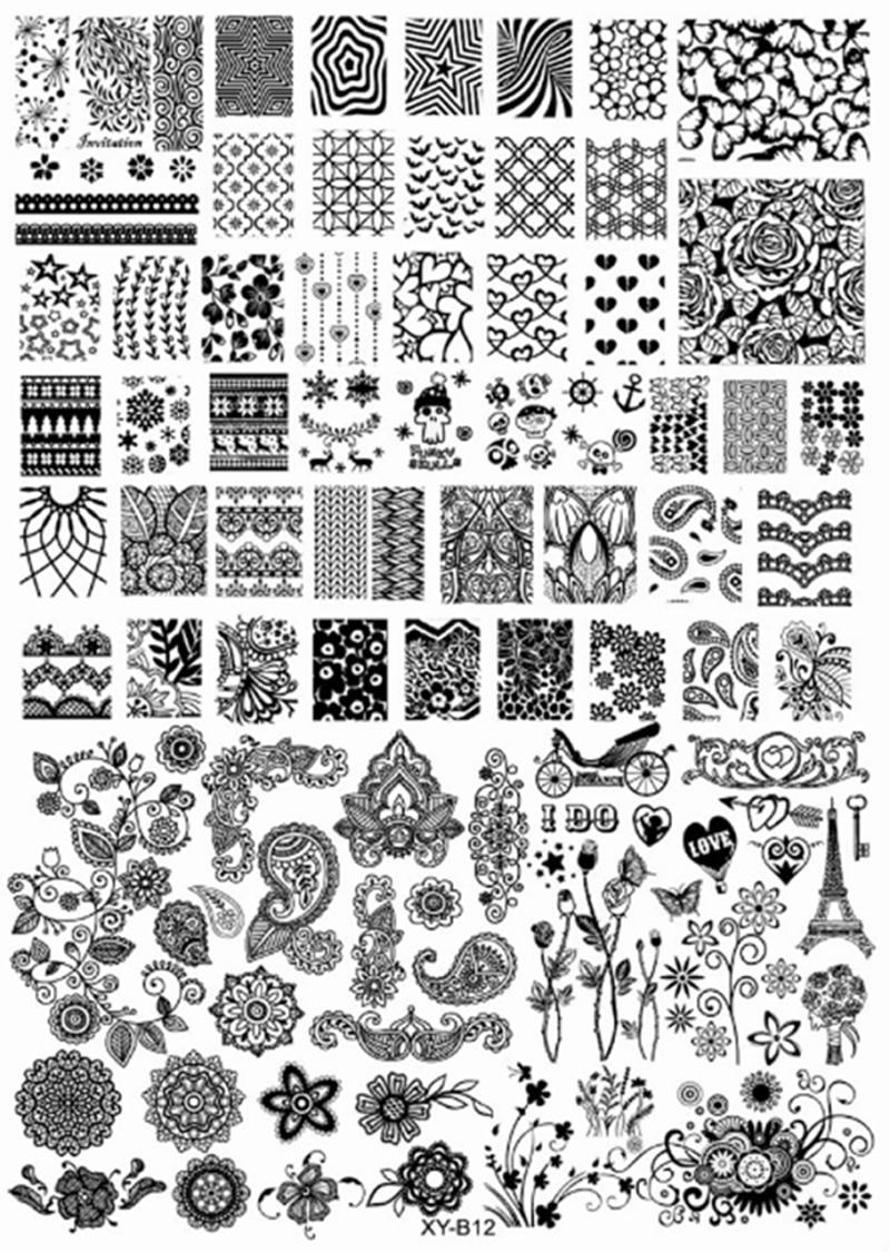 Nueva Moda de Acrílico Nail Art Stamping Stamping Plantilla Flor Del ...
