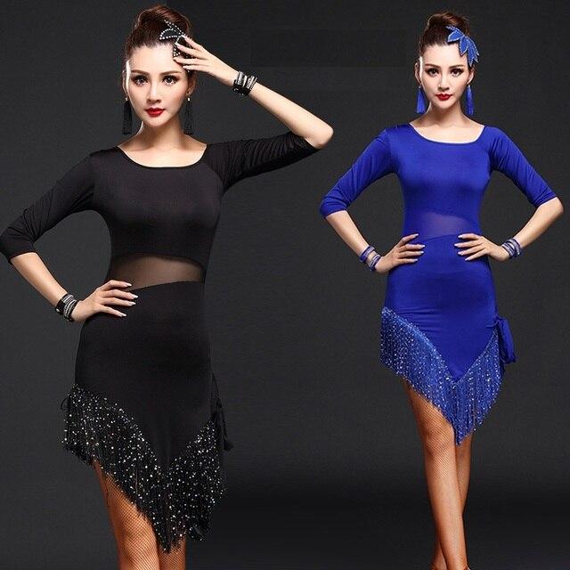 f8e3c745 Dama falda de baile latino de manga larga franja trajes de baile de salón  de baile