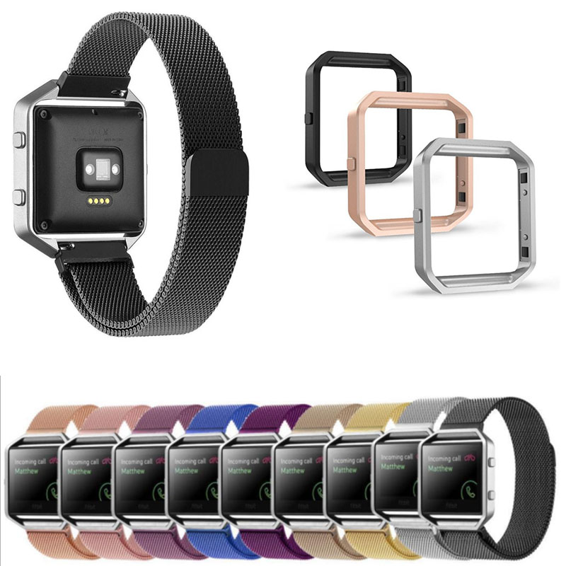 цена на For Fitbit Blaze Smart Fitness Watch Strap Milanese Loop Watch Band Stainless Steel Metal Frame Black Rose Gold Silver